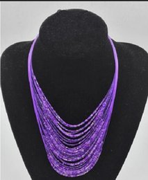 Wholesale Layered Body Chain Necklace - 2016 Fashion Bohemian Bead Necklaces Fashion Resin Beaded Multi-layered Necklaces for Women Collares Accessories Body Jewelry