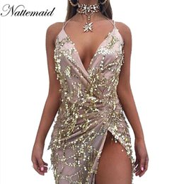 Wholesale Night Apparel - Wholesale- NATTEMAID 2017 Spring Women vintage dress Apparel Sexy sequin tassel beach party Club Wear Maxi long dresses Gold sequined Robe