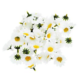 Wholesale Flower Handicraft - Wholesale- 100pcs 4cm Artificial Flowers Daisy With Yellow Core Wedding Decoration Simulation Flower Home Decor for Scrapbooking Handicraft