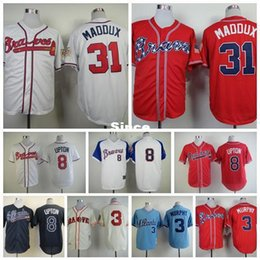 Wholesale Browning Tshirt Xxl - 30 Teams- Hot Sale 3 Dale Murphy Throwback 8 Justin Upton Baseball Tshirt 31 Atlanta Braves Jerseys Greg Maddux Red White Embroidery Logos