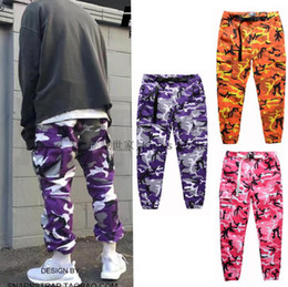Wholesale Camouflage Fashion Pink - FLYING NINETY Latest TOP camouflage camo KANYE WEST & FNTY oversized men joggers pants hip hop justin bieber Pink purple Fashion pants S-XXL