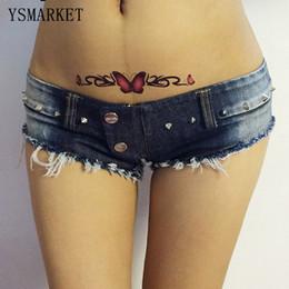 Wholesale Studded Jeans Short Woman - 2017 Navy Women Sexy Jeans Denim Shorts Summer Rivet Studded Sexy Slit Club Button Short Pants Skinny Tassel Short Jeans S0932