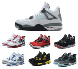 Wholesale Cheap Silver Shoes Rhinestones - 2016 cheap air retro 4 mens basketball shoes Silver Anniversary Oreo white Cement Fire Red Fear Black Cat lab US size 8 - 13