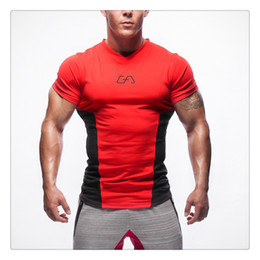 Wholesale Bodybuilding T Shirts Mens - T Shirts for Men Summer Fashion V-neck Mens Sport Bodybuilding Gym Breathable Tights Brand T Shirts US Sizes:XS-L