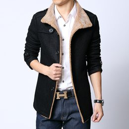 Wholesale Mandarin Collars Blazer - Wholesale- Plus Size L-6Xl Men Wool Coat Jacket Woolen Overcoat British Style Casual Blazers For Men Velvet Blazer Men Suit Free Ship B17