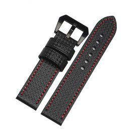 Wholesale Carbon Fiber Watch Band Strap - Wholesale-26 mm hot sales carbon fiber leather watch band black watch fashion accessories garmin Fenix 3 strap