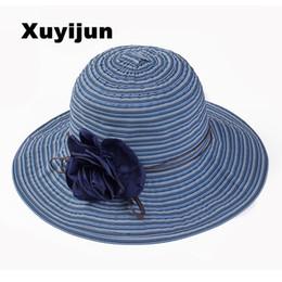 Wholesale Cotton Paper Flowers - Wholesale- Xuyijun elegant girls flower belt striped summer hats for women Panama sunhats beach hat Roses opening bone Cloth straw hat