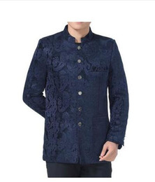 Wholesale Tunic Suits Men - stand collar chinese tunic suits casual men blazers quinquagenarian male spring and autumn wedding tang suit mens chinese style