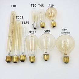Atacado-Antique Vintage 40 W 220 V Edison Lâmpada E27 Lâmpadas Incandescentes Esquilo-gaiola Filamento Lâmpada BulbT45 G80 T30 T10 T225 T185 A19 de Fornecedores de e coroa