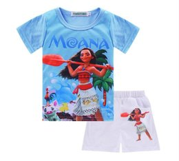 Wholesale Cheap American Wholesale Baby Clothing - 2017 New Moana Girls Boys T-shirts Set Baby Summer Clothing Sets Cartoon Movie Short Sleeves Kids Children T Cotton Cloth Cheap Wholesale