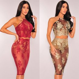 Wholesale strapless halter beach dress - Women's new strapless lace and embroidery style dresses,lady''s sexy perspective club and beach dress,two colour four size choose