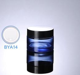 контейнеры для косметики из синего стекла Скидка 300pcs / lot 50 г (50 мл) Blue Glass крем банку, стеклянная бутылка с черными крышками, косметический контейнер, косметическая упаковка