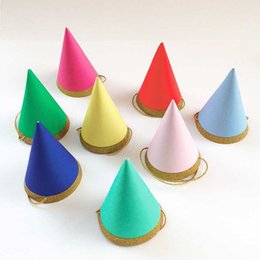 Wholesale Rainbow Birthday Cakes - Wholesale- Mini Party Meri Meri Happy Birthday Hats, Toot Sweet Rainbow & Gold Glitter Cone Hats caps baby shower