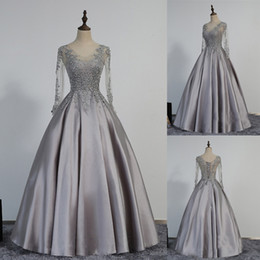 Wholesale See Through Bodice Prom Dresses - Modest Lace-Appliques Long-Sleeve Beading A-line Prom Dress See Through Bodice Grey Satin Long Evening Gowns Corset Back Party Dress