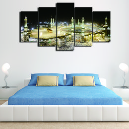 Wholesale Islamic Canvases - 5 Pcs Set Framed HD Printed Islamic Muslim Mosque Picture Wall Art Canvas Print Room Decor Poster Canvas Painting Abstract Art