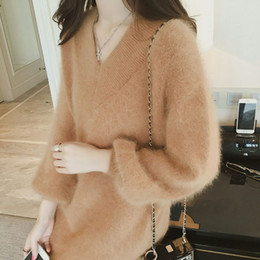 Wholesale Wool Dresses For Women - Women's Sweater 2017 New Sweater Dress Loose Long Autumn and Winter Pure Color Knitting Sweaters for Women