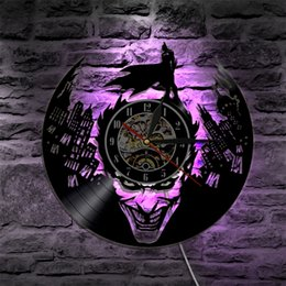 Wholesale vinyl flashing - Joker Batman Gotham City Led Vinyl Wall Clock Wall Lighting Color Change Vintage LP Record Decor Light Remote Controller,LED Flash Light