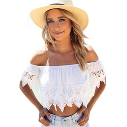 Wholesale Plus Size Cami Lace - 2015 Women Sexy Crop Tops Hollow out Lace Slash Neck Slim Cropped Top Lace Crochet Cami Tank White Lace Women Tops Plus Size