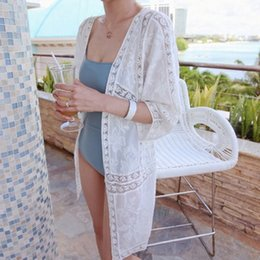 Wholesale Long Beach Sweater - Wholesale- Summer Long Cardigan Women Hollow out flowers Lace Shawl sunscreen Beach Female Outwear Sweater SR001