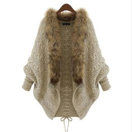 Wholesale knit rabbit fur cardigan - Wholesale-1 Piece Trendy Women Knitting Cardigan Csaual Clothinig High Quality Polyester Rabbit Hair Fur Collar Batwing Sleeve Autumn Coat