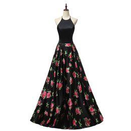Wholesale Chiffon Special Occasion Dresses - 2018 Black Prom Dresses Halter neck vestidos de Robe de Soiree Evening Gowns Special Dress Occasions