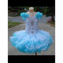 Wholesale Cute Little Girl Baby Images - Girls Pageant Dresses Sky Blue And White Organza Puffy Cute Ball Gown Little Baby Real Photo Flower Girl Dress 2017