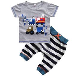 Wholesale Baby Clothes Car Cartoon - New Summer Baby Boys Clothes Set Cartoon Cars Short Sleeve Cotton Tops T-shirt + Stripe Pants 2pcs Kids Set Children Outfits W073