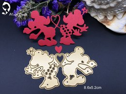 Wholesale Mouse Love - Metal cutting dies love heart cartoon mouse toy doll Scrapbook card paper craft home decoration embossing stencil cutter