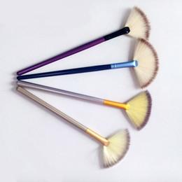set de pinceles de maquiagem blue sky cosméticos Desconto Ventilador macio Escova Portátil Magro Profissional Maquiagem Escova Tamanho Pequeno pincéis de Fundação com diferentes cores DHL frete grátis