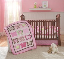 Wholesale Girls Butterfly Bedding - American Baby Bedding Set 4 PCS Girls Crib Bed Set Pink Butterflies embroidered Inc Comforter ,Bumer, Coverlet and Skirt