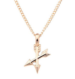 Wholesale Fishbone Chain - Gold Arrow Pendant Necklace Aim High Fishbone Hand Stamped Fashion Alloy Necklace Jewelry 10 PCS