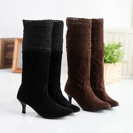 Wholesale Solid Pull Overs - Free shipping Fashion Women Boots Sexy Casual Squre High Heels Platform Pull Up Over Knee Boots High Heels Platform boots Big size 34-43