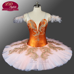 Wholesale Orange Ballet Tutu - Hot sale! Adult Women Dark Orange Fluffy Professional Tutu Classical Pancake Ballet Costumes Fairy Ballet Tutu Custom LD0077