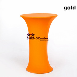 Wholesale Wholesale Spandex Cocktail Table Covers - Wedding Decoration Round Base Spandex Cocktail Table Cover Free Shipping