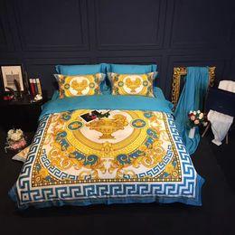 Blauer könig größe tröster set online-Baumwolle Bettwäschesatz Duvet Bettwäsche blau Bettbezug Set Satin König Tröster Set Decke deckt Queen Size