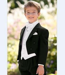 Wholesale Kids Zipper Ties - Wholesale- New Arrival Boy Tuxedos Notch Lapel Children Suit Black Kid Ring Wedding Prom Suits ( Jacket+Vest+Pants+Bow Tie +Shirt ) NH1