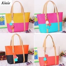 Wholesale Mix Color Handbag Shoulder Bag - Wholesale- Favorite Women Leather Handbags Fashion Mixed Color Shoulder Bag for Girls Bolsa de Praia #9987