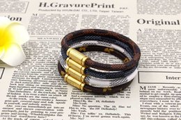 Wholesale Leather Flowers Jewelry - Titanium steel magnet Buckle Leather Bracelet For Women Men Fashion cuff Bracelets & Bangles Rope flowers jewelry wholesale