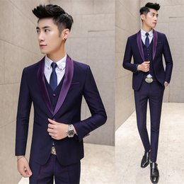 Wholesale Navy Costumes For Men - Wholesale- Purple Prom Suit Costume Mariage Homme Navy Purple Tuxedos for Men Suits Wedding Groom Slim Fit Shinny Collar Formal Suit Men