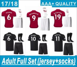 Discount gold football socks - POGBA Adult Full Set (set+socks)Soccer erseys 2018 IBRAHIMOVIC MEMPHIS ROONEY RASHFORD soccer shirt AAA+ thai quaily Football shirts