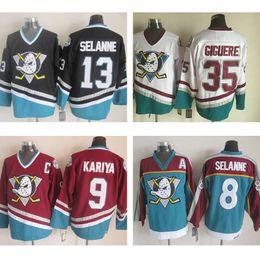 Wholesale Ice Hockey Jersey Ducks - cheap ANAHEIM DUCKS Hockey jersey #8 Teemu Selanne #9 Paul Kariya #13 Teemu Selanne #35 Sebastien Giguere Ice Throwback Stitched Jerseys