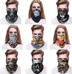 Wholesale Face Tie - New Magic scarf collar absorbent mask outdoor sports headbands seamless face skull scarf male Bandanas C019