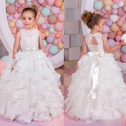 Wholesale Toddlers Bridesmaid Dresses - 2018 Tiered Satin Flower Girl Dress Toddler Pageant Dresses Lace-Up Ivory Lace Jewel Neck Junior Bridesmaid Dress Belt Birthday Gown Kids