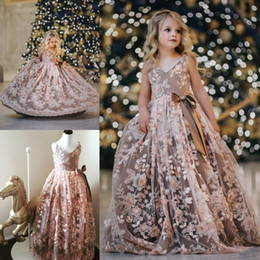 Wholesale Christening Lace Gown For Sale - Real Image Flower Girls Dresses Luxury Embroidery Appliques Kids Pearls Evening Gowns Tulle Sleeveless Flowergirl Dress For Sales