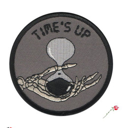 Wholesale iron patches skulls - TIME IS UP Skull Death Embroidered Patch Motorcycle Biker Iron On Patch for Jacket Vest Rider Patch Free Shipping