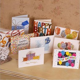 Wholesale Birthday Wishes Gifts - Sweet Wish Lovely For You Happy Birthday Thank You Favor Gift Card Greeting Christmas Printed Card Kid Gift Free Shipping ZA1863