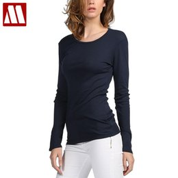 Wholesale Stretch Cotton T Shirts Wholesale - Wholesale-MYDBSH Brand Cotton Women Stretch T-shirt Long Sleeve Under shirt Tops & Tees Casual Solid T-shirts European and American Style