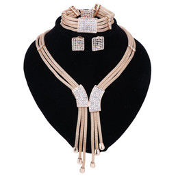 Wholesale Italy Gold Necklace - 2017 Women Italy Dubai Three Tone Necklace Earrings Golden Jewelry Sets Wedding Party Bridal Accessories Costume jewelry