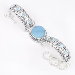 Wholesale Round 925 Bangle - 2 Pieces 1 lot Special Vintage Round Larimar Gems 925 Sterling Silver Chain Bracelets Russia American Australia Weddings Bangles