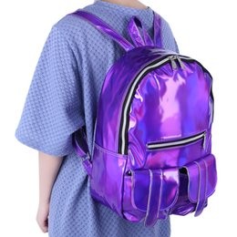 Wholesale Types Girl Backpacks - Girl Preppy Style Laser Bag School Travel Shopping Portable Backpack Closure Type Zipper and Magnet Button B